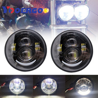 LED Motorcycle HeadLights Head Lamp For Fat Bob FXDF 2008 2016 Black (2 Pack)