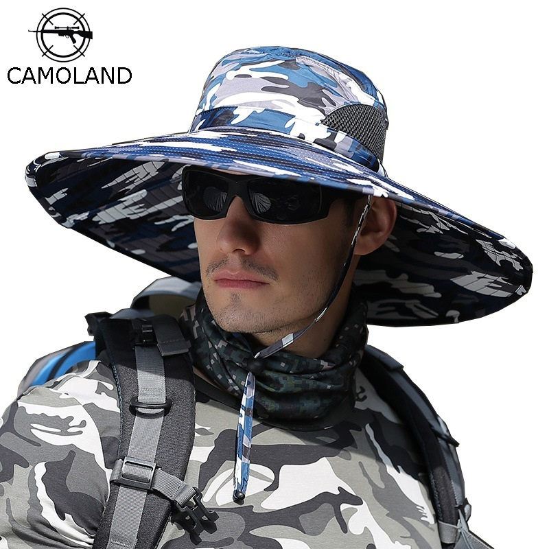 CAMOLAND Summer Sun Hat Men Camouflage Bucket Hat High Quality Outdoor UV Protection Cap Male Long Wide Brim Hiking Fishing Hats