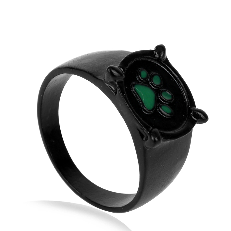 Hot Sale Anime Peripheral Miraculous Lady Black Cat Noir Rings Character Cartoon Green Cat Dog Claw Foot Ring Women Men Gift
