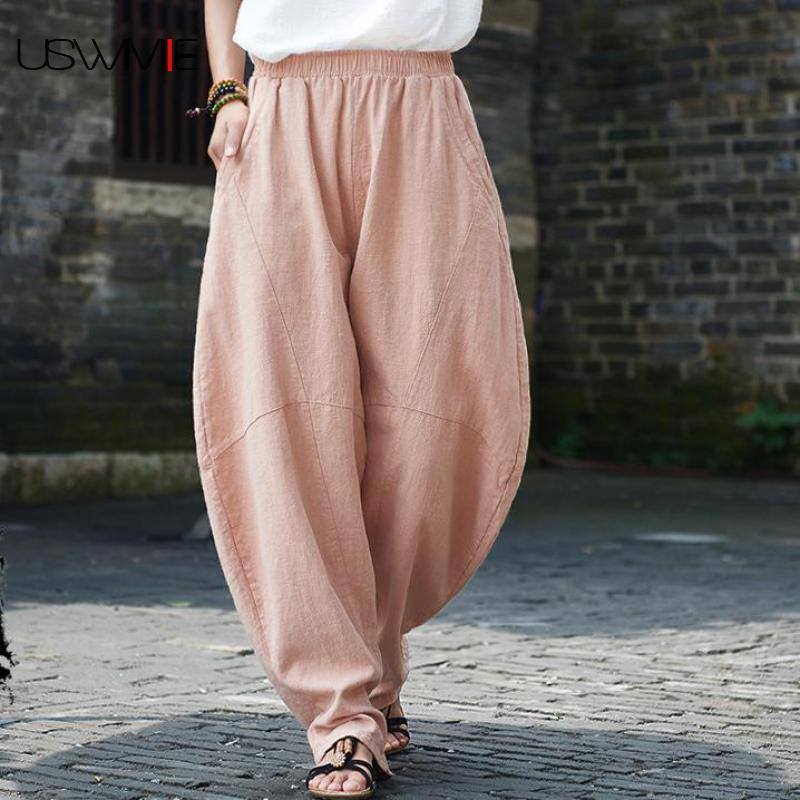 2019 Summer   Pants   Women Retro Literary Simple Leisure Elastic Waist Solid Color Pockets Loose Comfort Plus Size   Wide     Leg     Pants