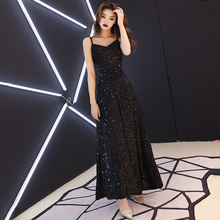 Bandage Evening Dresses Sexy V-neck Spaghetti Strap Formal Prom Dress Royal Sequined Ankle-length A-line Long Party Gowns E302
