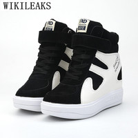 Height Increasing Casual Women Shoes Suede Leather Black White Platform Sneakers Women 2019 Ladies Shoes Woman Chaussures Femme