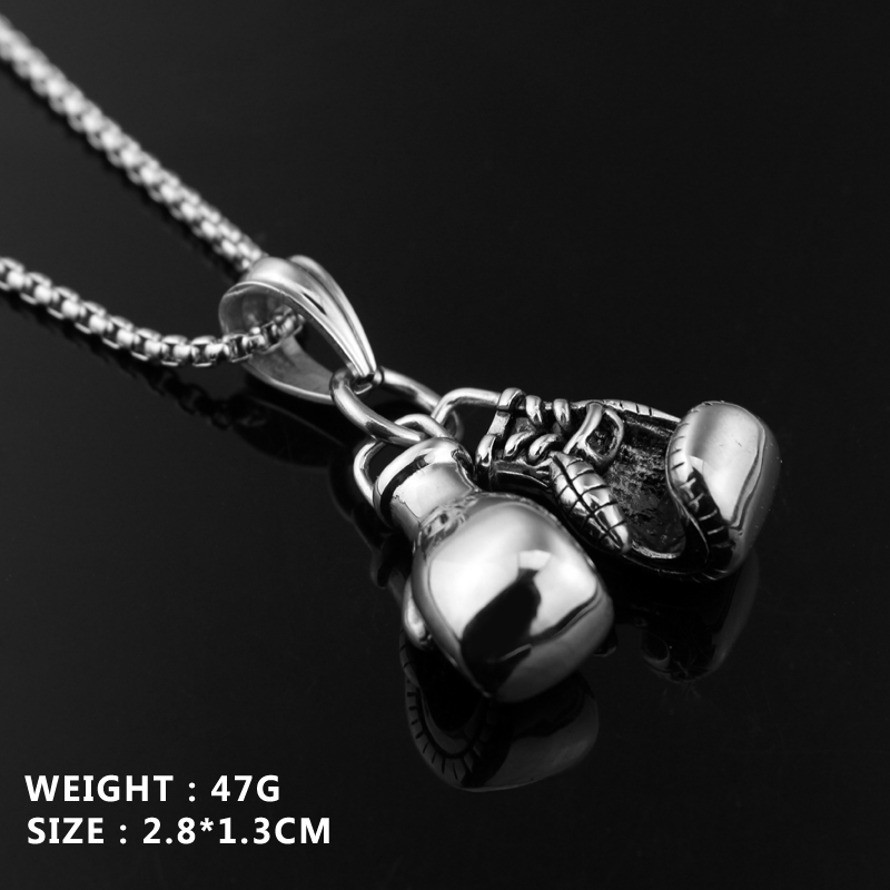 24K Gold//Silver Plated Fashion Mini Boxing Glove Necklace Boxing Jewelry Stainless Steel Cool Charm Penda