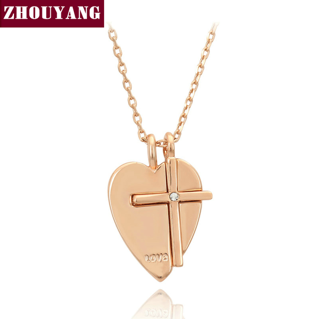 Top Quality Zyn155 Heart Cross Necklace Rose Gold Color Nickel Free