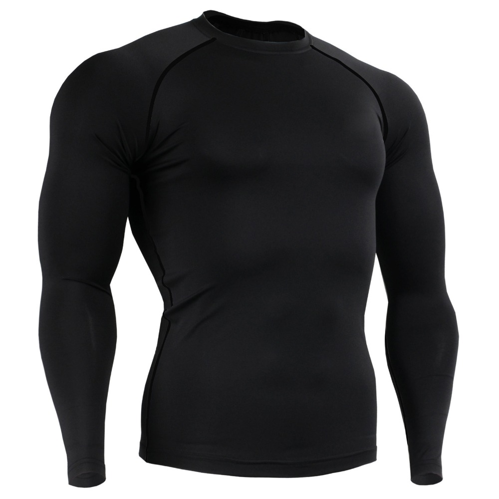 2017 new arrivals cycling riding base layers brand solid color mens sports breathable long sleeves shirts tops size s-4xl