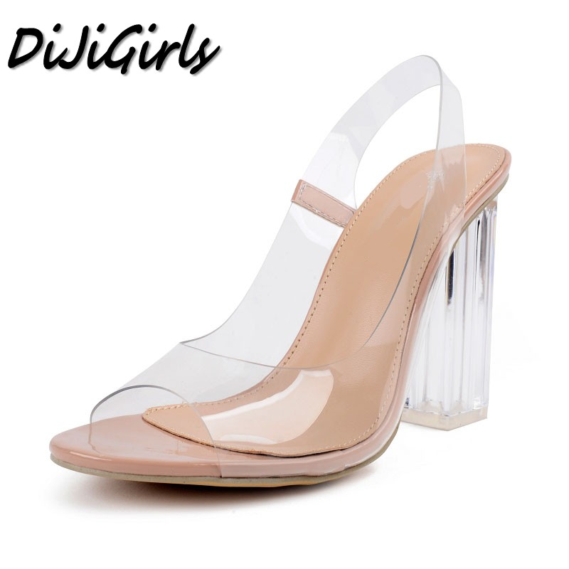 DiJiGirls women Sexy Open toe sandals ladies Gladiator thick high heels shoes woman Crystal Clear Transparent ankle strap shoes цены онлайн