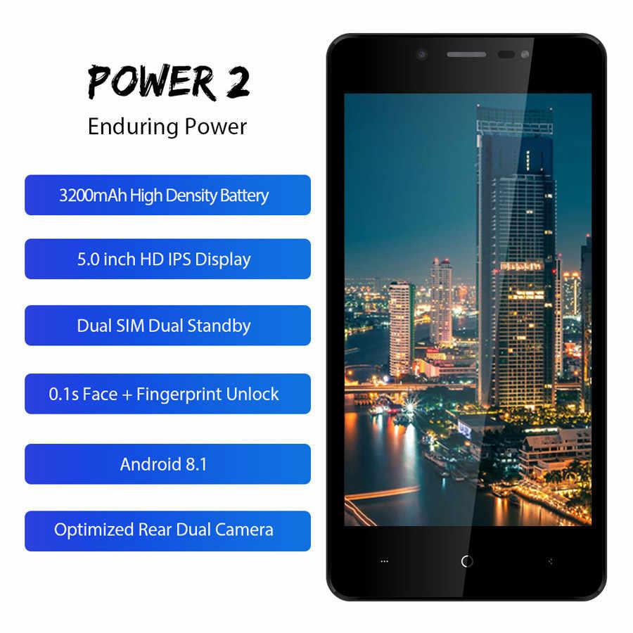 Мобильный телефон LEAGOO POWER 2, 5,0 дюйма, HD IPS, 2 Гб ОЗУ, 16 Гб ПЗУ, Android 8,1, MT6580A, четыре ядра, двойная камера, задний, отпечаток пальца, 3G, смартфон
