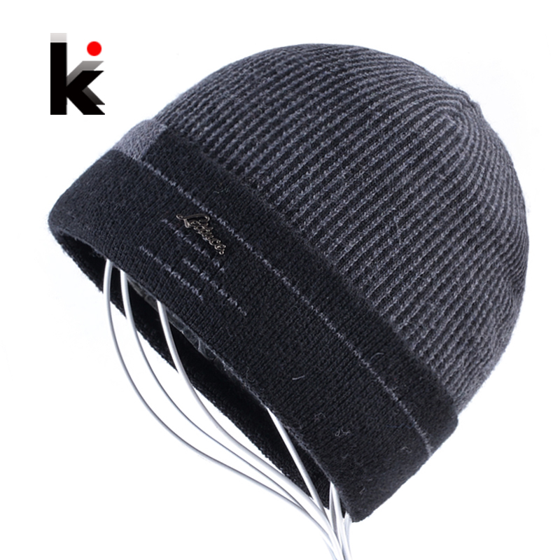 Knitted Skullies Men Beanies Winter Hats For Men Knitting Striped Wool Bonnet Caps Boy Beanie Fashion Casual Touca Inverno