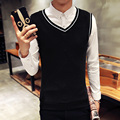 Fall 2016 slim warm sleeveless knitting a sweater/Male high-grade v-neck style pure color vest/Men leisure knit shirt