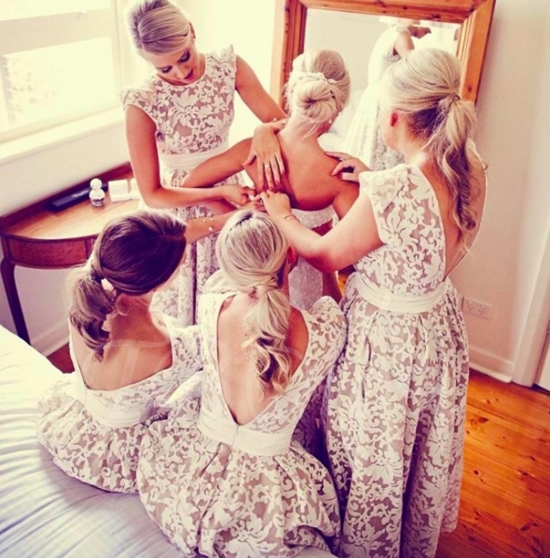 robe de soriee 2019 Bridesmaid Dresses Vintage High Low Backless Lace Wedding Party Dress Maid of Honor Dress Custom Made