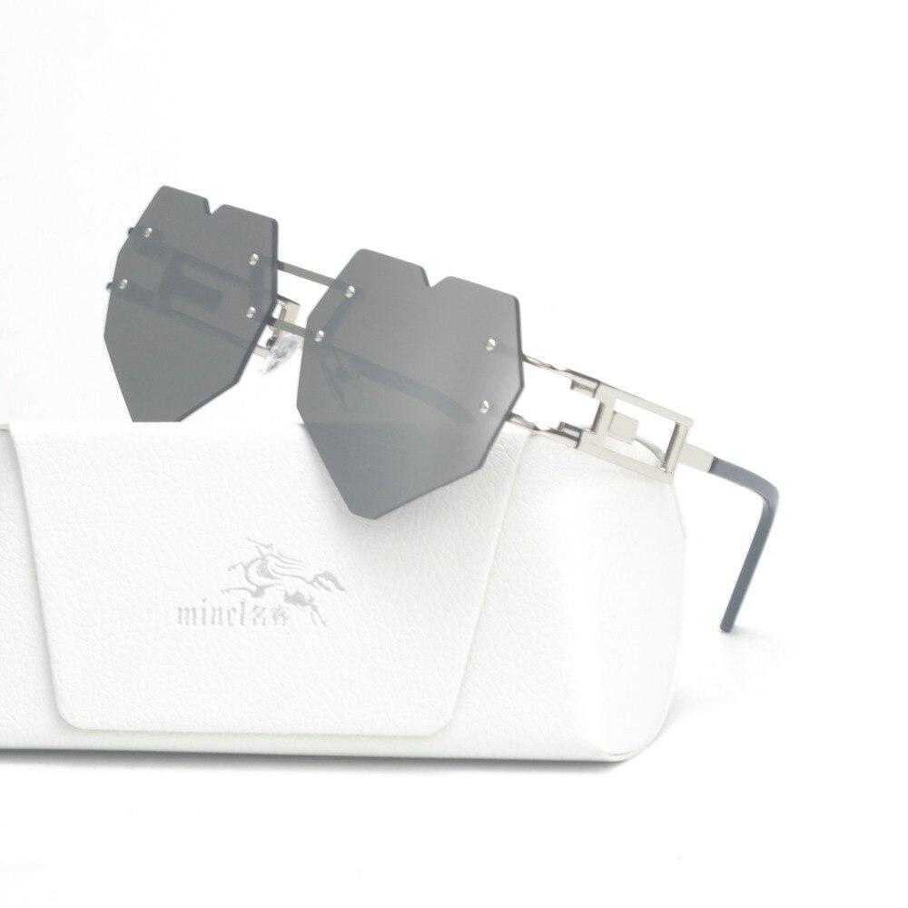 b338e68673 MINCL Womens Designer Cute Rimless Love Heart Shaped Sunglasses Ladies  fashion unique sunglasses Jelly sunglasses large FML-in Sunglasses from  Apparel ...
