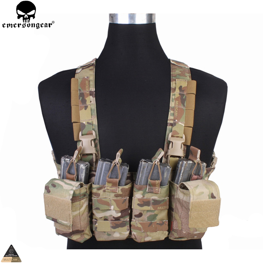 EMERSONGEAR Easy Chest Rig Vest Tactical Combat Recon Vest with Magazine Pouch Airsoft Hunting Paintball Vest Multicam EM7450 airsoft adults cs field game skeleton warrior skull paintball mask