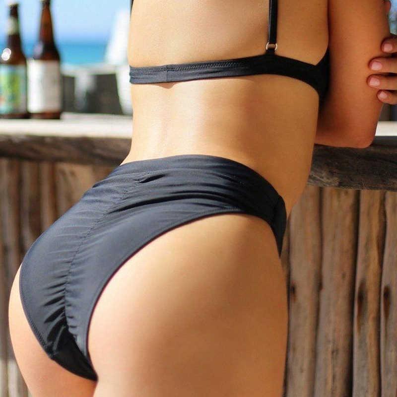 נשים סקסי בגד ים בציר בגדי ים שחור ברזילאי Biquini סוד ביקיני תחתון גבוהה מותניים חצוף ביקיני Bottoms Thong