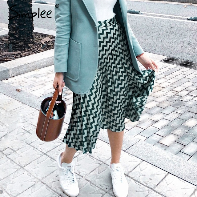Simplee Pleated satin women green skirt England style geometric high waist midi skirts Casual streetwear female skirt bottoms