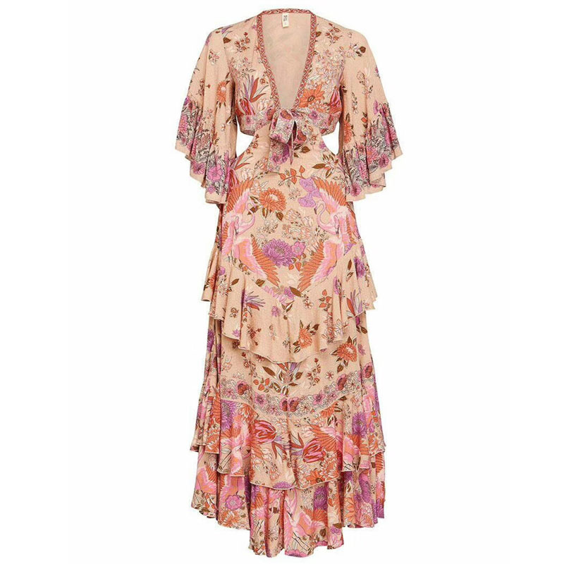 Vacances Sexy Bohème De 2019 Profonde Imprimé Maxi Femmes Robe 1 Nouveau Printemps V Vêtements Mode Longue Floral cou Plage pCwnFEqP