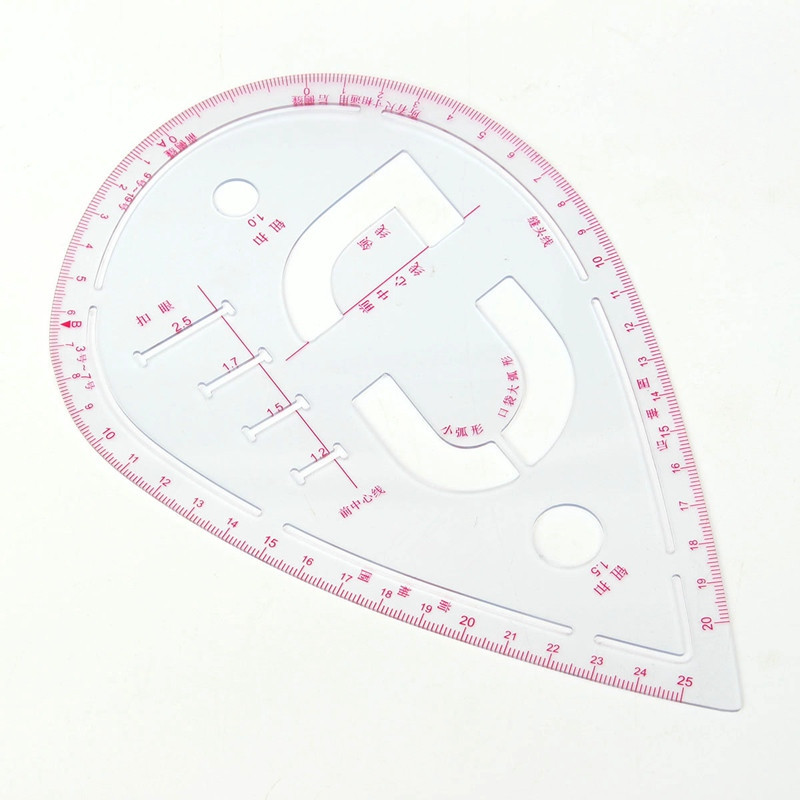 Kicute Plastic Sleeve Button Cutting Ruler Clothing Sample Pockets Collar Drawing Sewing Tailor Ruler Curve Put Yardstick