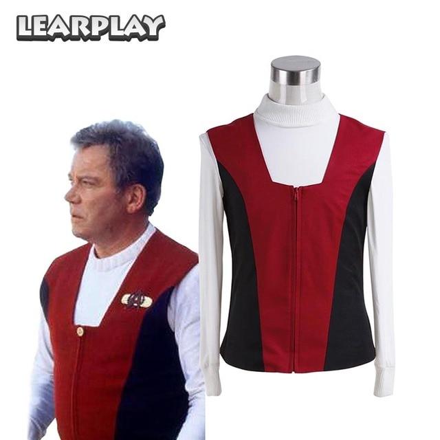 Star Trek Kirk Ribbed Shirt Red Black Vest Cosplay Costumes