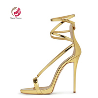 Original Intention Women Sandals Leisure Open Toe High Heels Cross tied Buckle Strap Concise Sandals Silver Gold US Size 5 13.