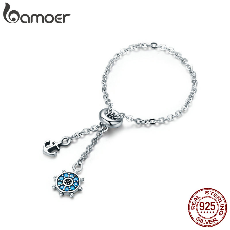 BAMOER 100% Authentic 925 Sterling Silver Anchor & Rudder Chain Link Adjustable Female Rings For Women Fine Jewelry Gift SCR236