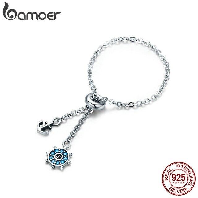 388a52caefaa BAMOER 100% auténtica Plata de Ley 925 de ancla de plata y el timón ...