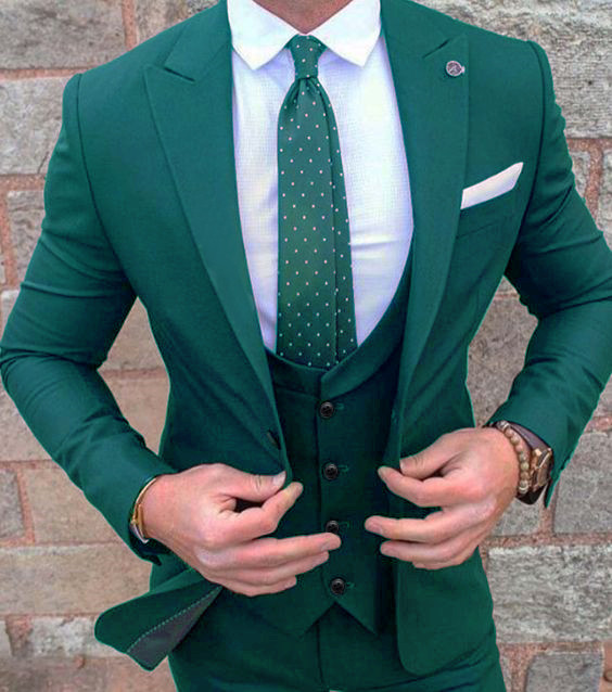 Suit Jacket Tuxedo Pants Slim-Fit Business Wedding Party Green Dinner Mens 3pieces New