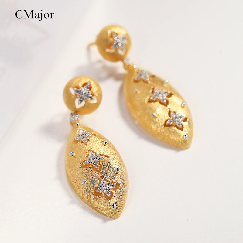 CMAJOR Solid Silver Four-leaf Clover Drop Earrings Vintage Palace Two Tone CZ Dangle Earrings For Women
