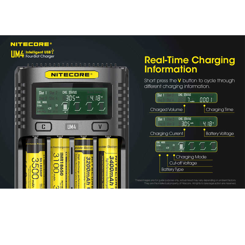 NITECOR UM4 C4 VC4 LCD شاحن بطاريات ذكي ل يثيوم أيون/IMR/INR/ICR/LiFePO4 18650 14500 26650 21700 26650 AAA بطاريات إضافة المكونات