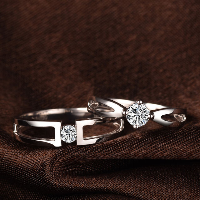 Love Diamond Ring 18k White Gold 0 10 30ct Handmade Wedding Bands Set