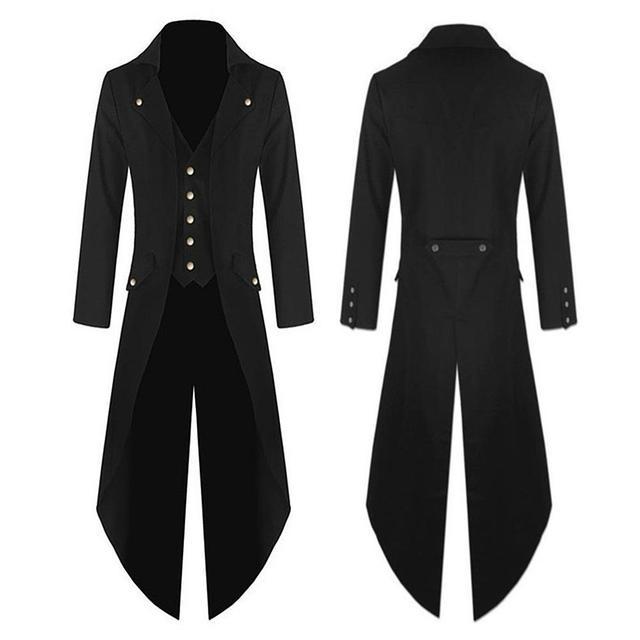 MISSKY Men Concise Lightweight Warm Punk Style Jackets Black Single-breasted Wind-proof Coat Long Jacket Coat