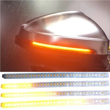 2PCS Led Dynamic Sequential LED Side Mirror Turn Signal Lights Warning Strip Tape Stickers Safety Pair Set(Amper)