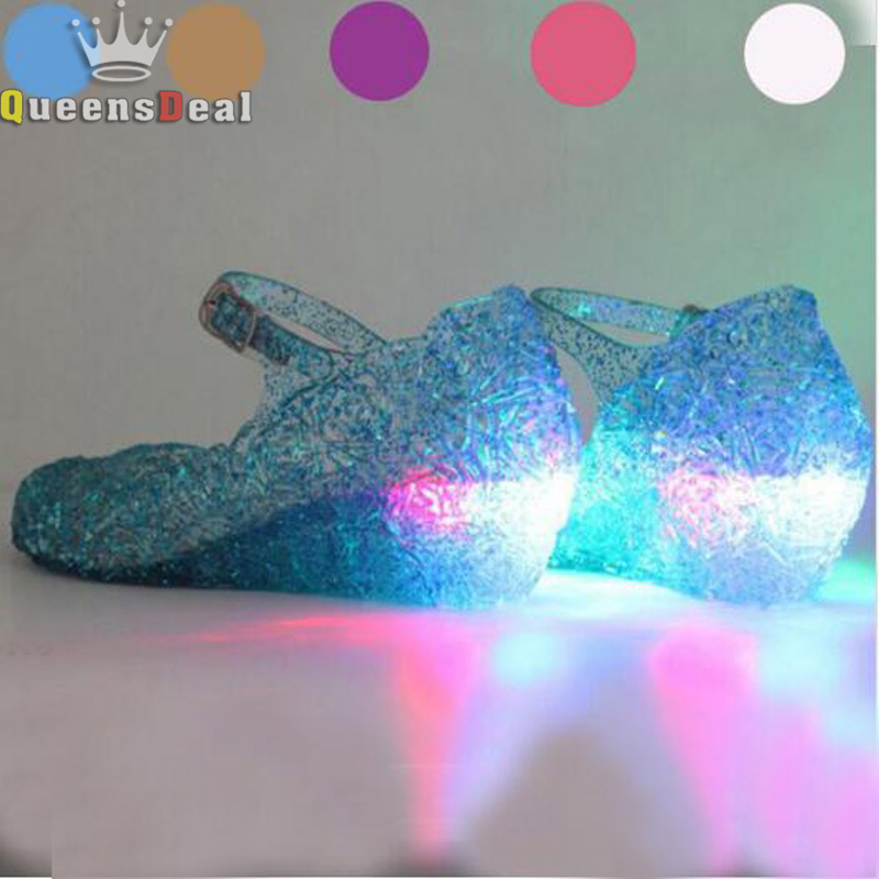 MERI AMM LED Lightening Shoes Dancing Stage For Princncess Dress Up Girls Sandals Anna Elsa Sophia Cosplay Jelly Baby Shoes