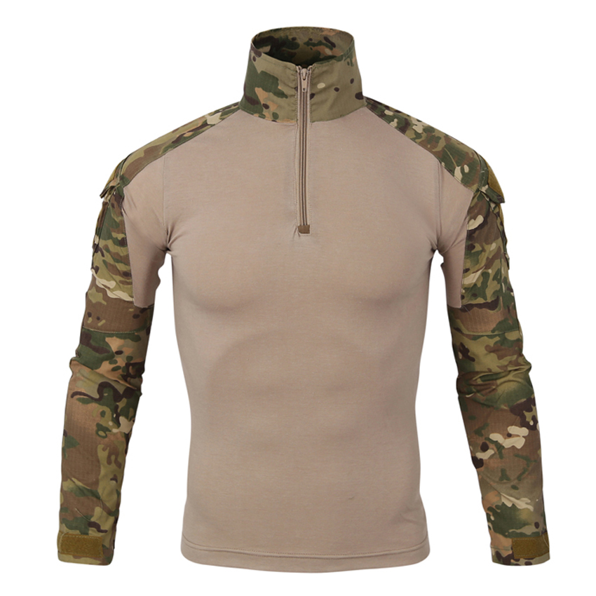 Men's Summer Camouflage T-Shirt Military Tactical Full Sleeves Frog Suit Cotton Fitness Casual T-Shirt Brand Clothing LA639