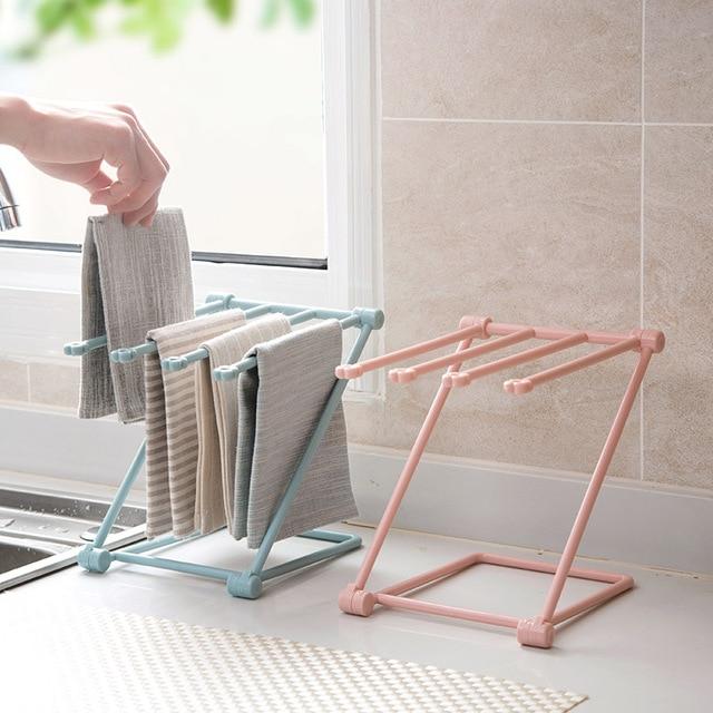 plastic towel storage rack diy folding cup holder save space kitchen rag drain rack towel storage r44 storage