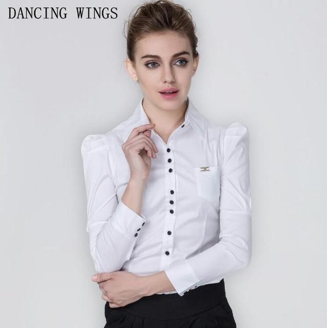 0ce43fd04bb8e Formal Shirt Women 2018 Elegant OL Office Ladies Work Wear Long Sleeve White  Blouse Plus Size Tops