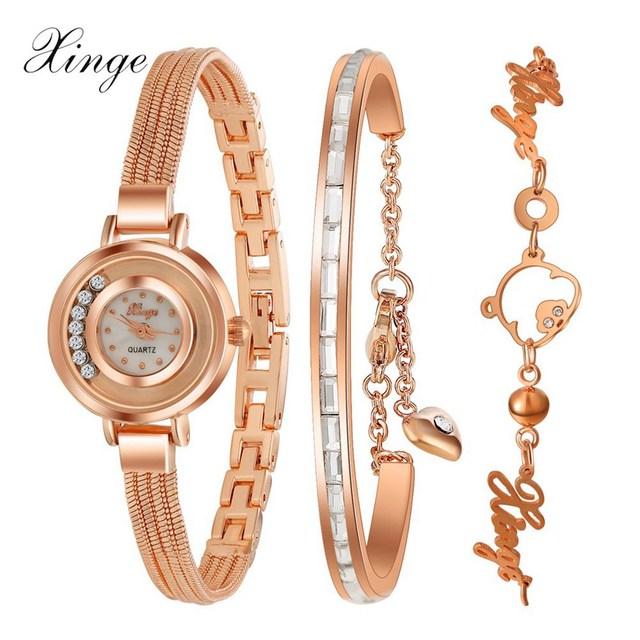 Xinge Brand Fashion Women Rose Gold Crystal Watch Friendship Bracelet Quartz Wristwatch Ladies Female Girl Casual Dress Watch