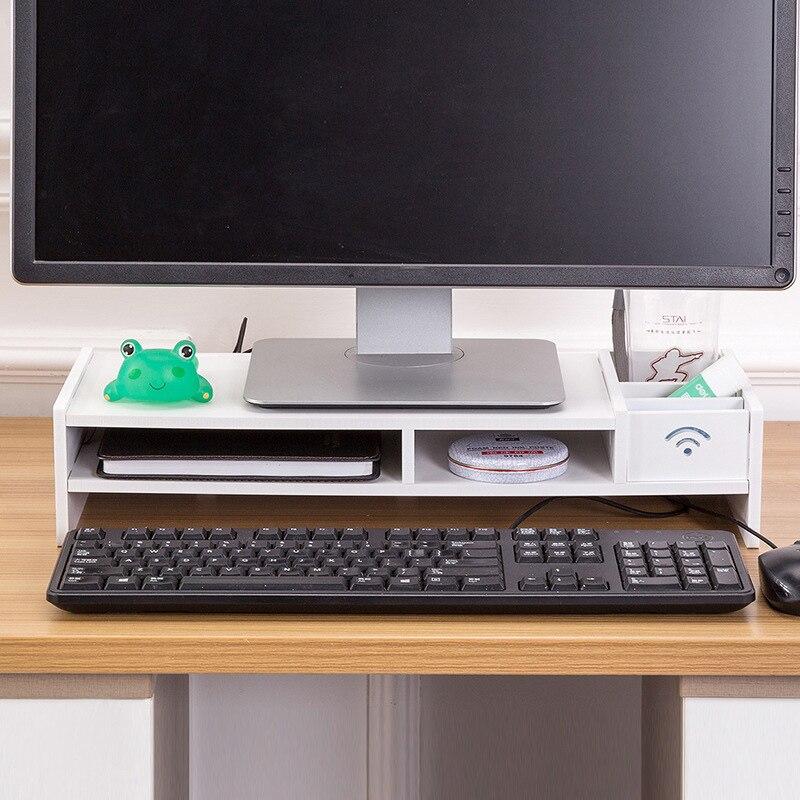 Multi-fonction moniteur de bureau support ordinateur écran Riser étagère en bois plinthe fort support d'ordinateur portable support de bureau pour ordinateur portable TV