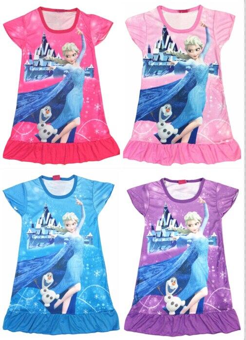 1Piece Beautiful Snow Queen Elsa Olaf Girl Summer Cartoon Dress Fantasy Princess Pajamas Nightgown Sleepwear Dress Free Shipping 2016 infantil reloj snow queen princess elsa anna cartoon watch 3d children kids quartz wristwatches clock
