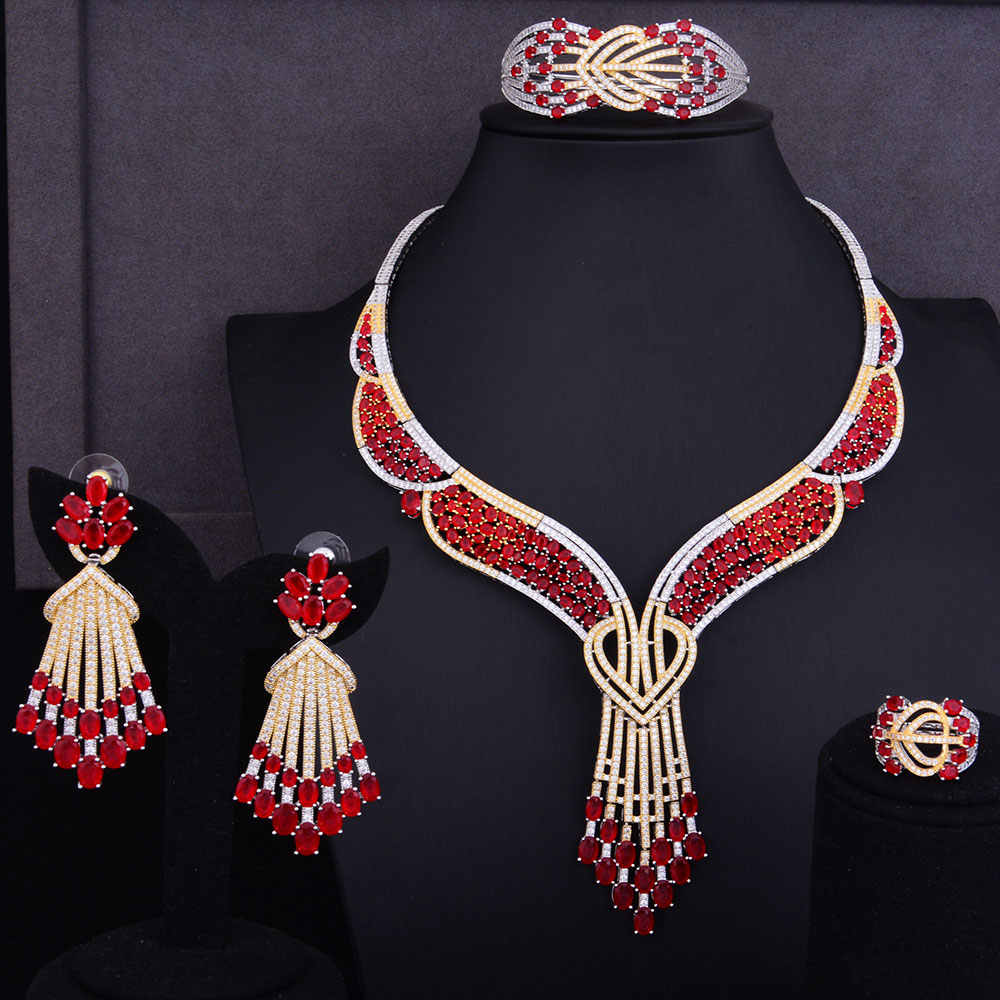 GODKI Famous Design Cluster Women Wedding Red Cubic Zirconia Statement Necklace Earring Bangle Ring Jewelry Set