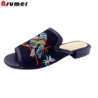 Asumer 2017 Hot Sale New Arrive Women Sandals Fashion Flock Summer Shoes Square Heels Embroider High