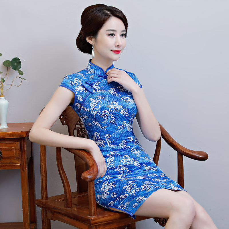New Arrival Women's Satin Mini Cheongsam Fashion Chinese Style Dress Elegant Slim Qipao Clothing Size S M L XL XXL 368483 14