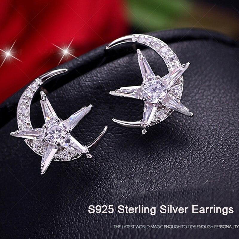 New Arrival Stars Moon CZ Zircon Stud Earrings girls Fashion Rose Gold/Silver Cubic Zirconia Earrings For Women DropShipping