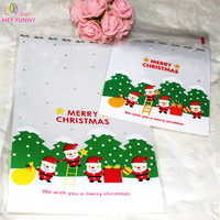 HEY FUNNY 100pcs Pack Hot Baked Packaging Bags Color Santa Claus Ping Dim Sum Cookie Gift