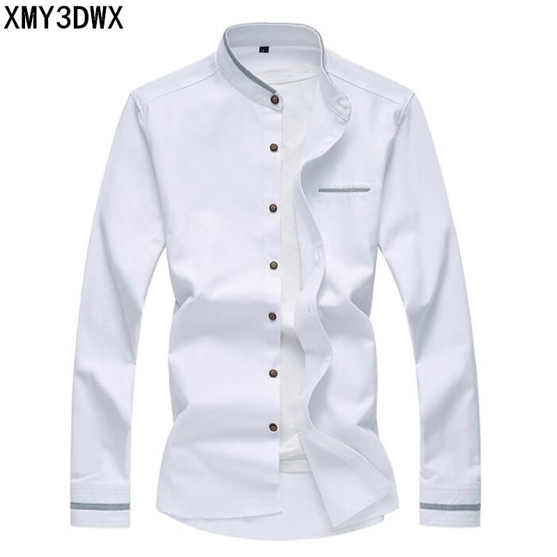 MenS Big Size Slim Fit Oxford Shirts Men Fashion Autumn Autumn Long Sleeve Mandarin Collar Patchwork 5XL 6XL 7XL Casual Shirt