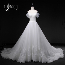 Romantic Off Shoulder White Wedding Dress Long Floral A-line Bridal Formal Gowns Appliques Wedding Dresses Long Brides Dresses