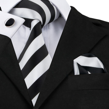 SN-276 White Black Striped Silk Tie Set Handkerchief Cufflinks Sets Men's 100% Silk Ties for Men Formal Wedding Party Groom Tie