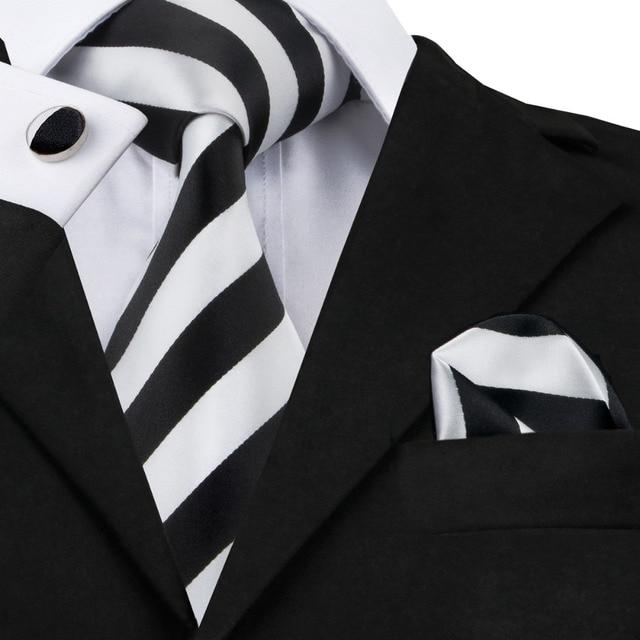 SN-276 White Black Striped Silk Tie Set Handkerchief Cufflinks Sets Men's 100% Silk Ties for Men Formal Wedding Party Groom Tie
