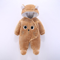 Newborn toddler rompers Infant newborn winter hooded jumpsuit Baby rompers Boy girls warm Clothes