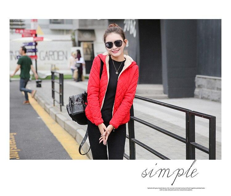 Autumn 2019 New Parkas basic jackets Female Women Winter plus velvet lamb hooded Coats Cotton Winter Jacket Womens Outwear coat 9