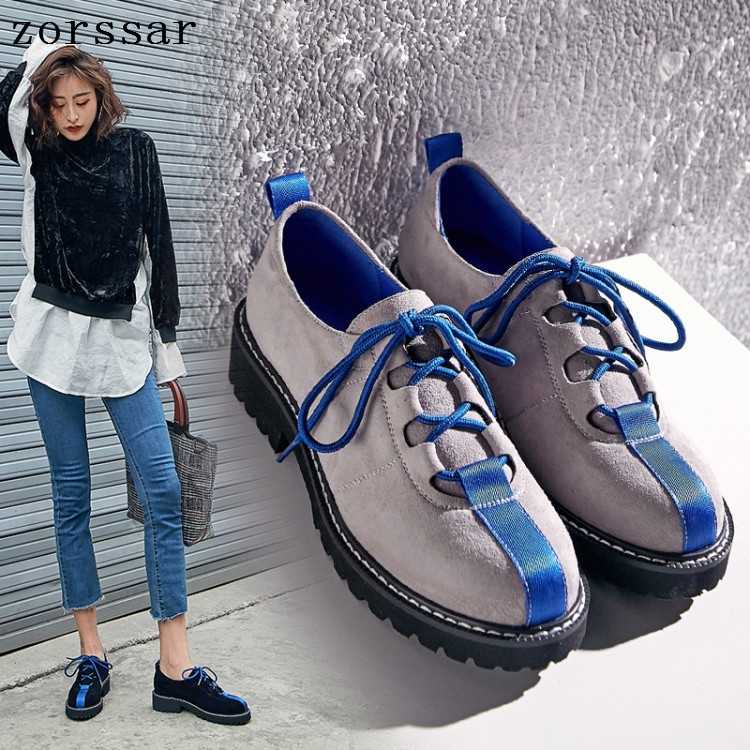 Zorssar 2019 Spring women sneakers oxford shoes flats shoes women   leather     suede   lace up boat shoes round toe flats moccasins
