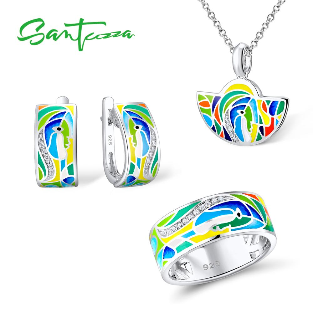 Santuzza Jewelry Set Colorful Enamel Face Ring Earrings Pendent Necklace 925 Sterling Silver Women Fashion Jewelry Set HANDMADE